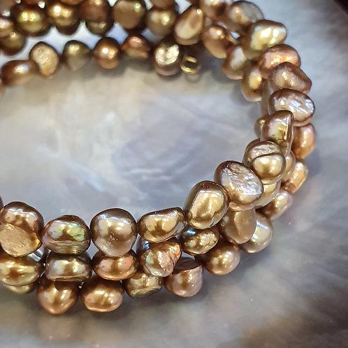 Bronze pearl bracelet, memory wire wrap bracelet,