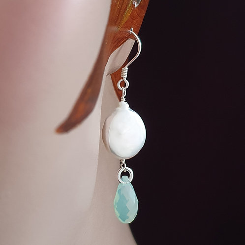 Pearl and Swarovski crystal drop earrings