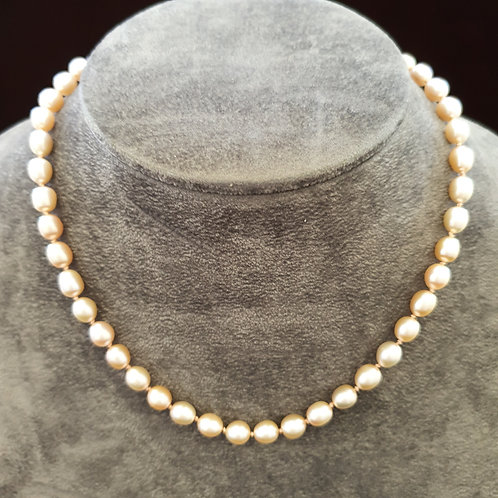 Hand knotted pearl necklace, pink pearl necklace,