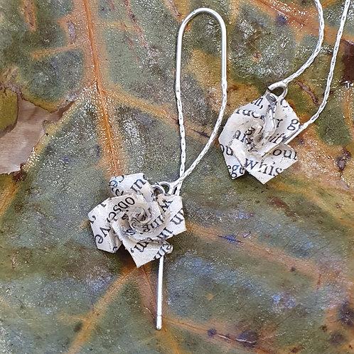 Book rose threader earrings