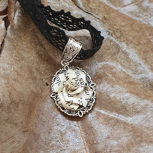 Gothic, fantasy or Sci-fi recycled book paper rose choker