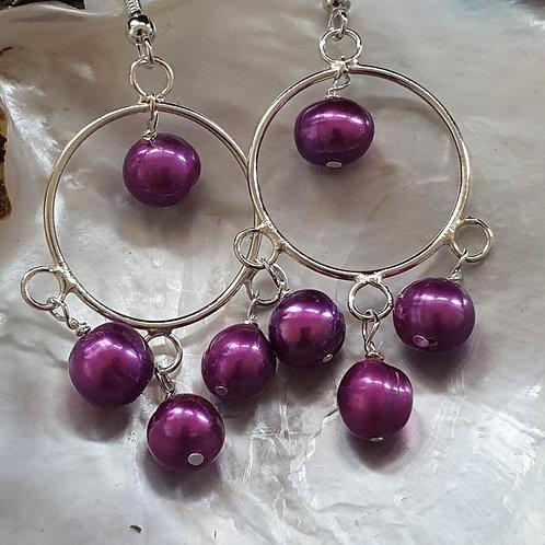 Purple and silver drop earrings