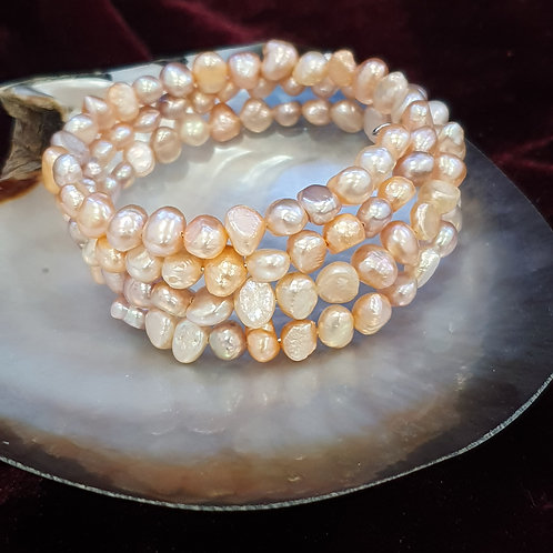 peaches and cream memory wire bracelet