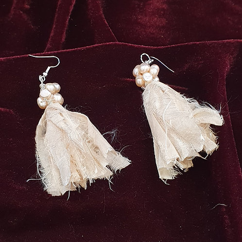 Silk tassel and pearl earrings
