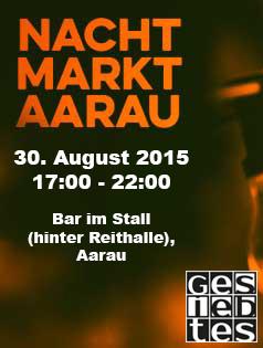 Gesiebtes am Nachtmarkt in Aarau 30. August 2015 in der Bar im Stall