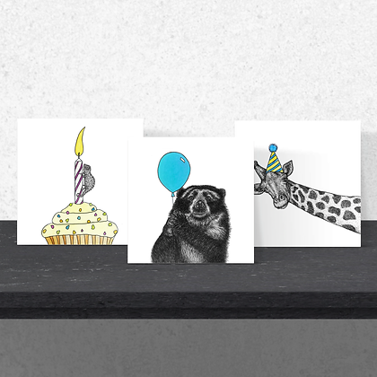 Set of three celebration cards