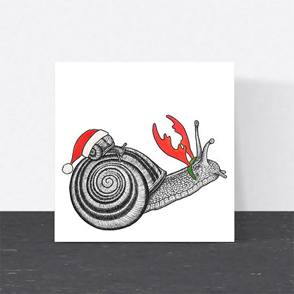 Brown-lipped snail Christmas card