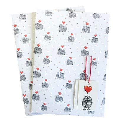Love owls gift wrap and tags
