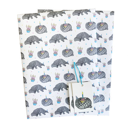 Pangolin birthday gift wrap and tags