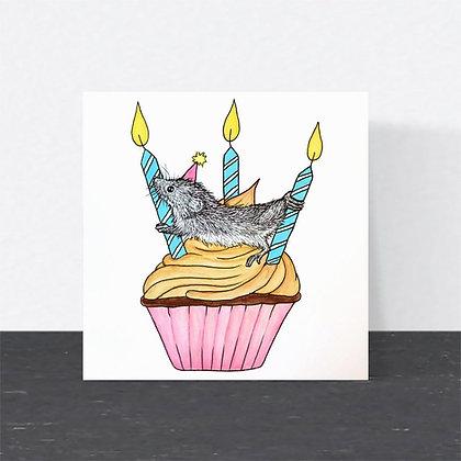 Harvest mouse Birthday card