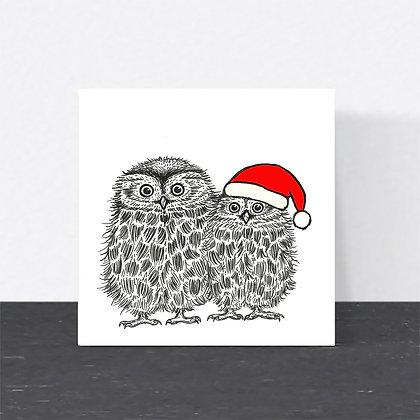 Cute Christmas owls card