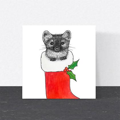 Pine marten Christmas card