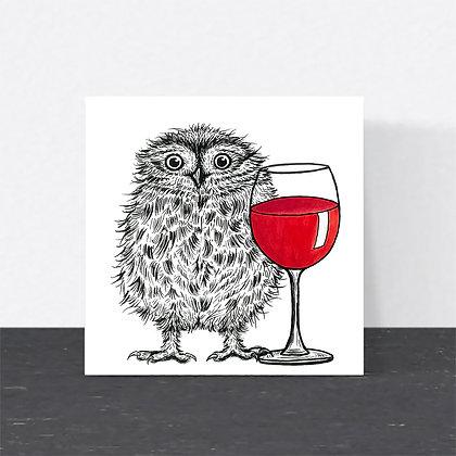 Little owl wine card