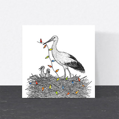 White stork Christmas card
