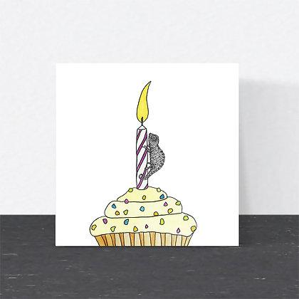 Cute chameleon birthday card