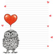 Love owl notepad