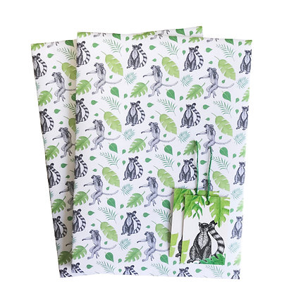 Lemur-themed gift wrap and tags