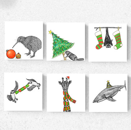 Set of six Christmas cards