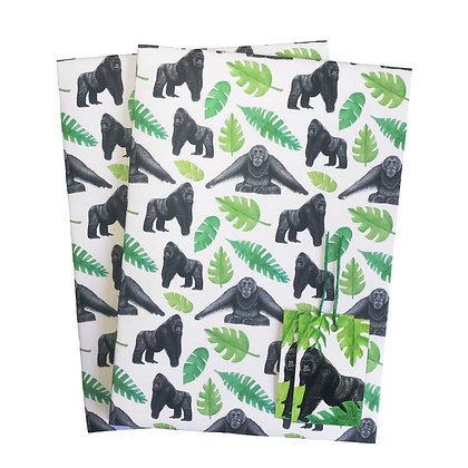 Ape-themed gift wrap and tags