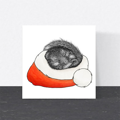 Hazel dormouse Christmas card