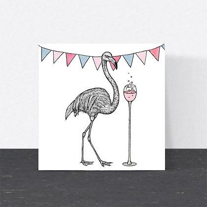 Flamingo wine celebration card