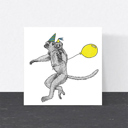 Mum and baby lemur card