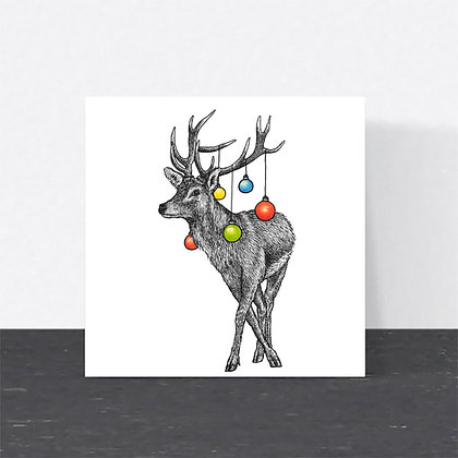 Red deer Christmas card