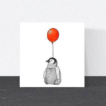 Cute baby penguin birthday card