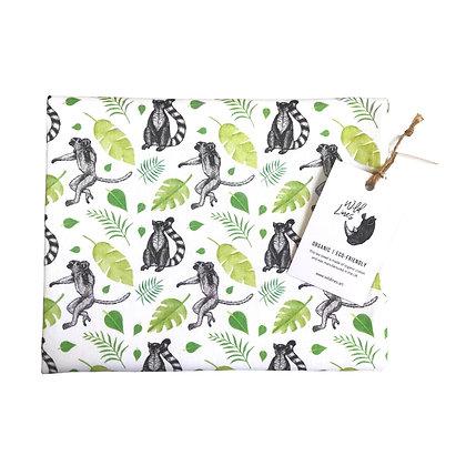 Organic cotton lemur-themed tea towel