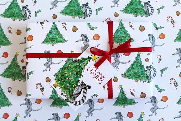 Lemur Christmas gift wrap and tags