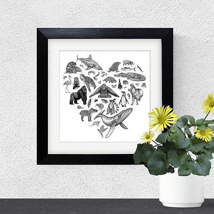 Framed animal kingdom heart print