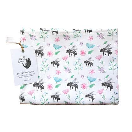 Organic cotton honeybee-themed tea towel