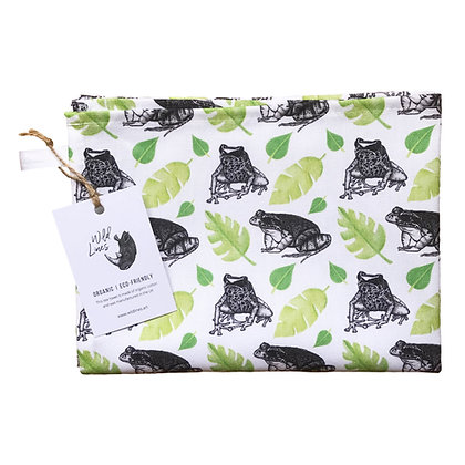 Organic cotton frog-themed tea towel