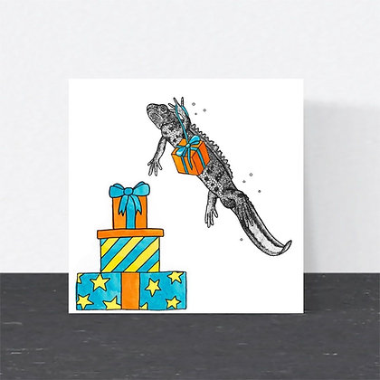 Great crested newt Birthday card