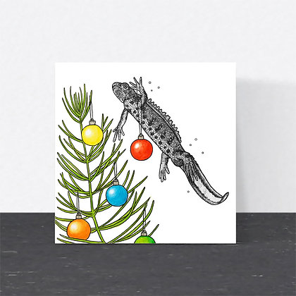 Great crested newt Christmas card