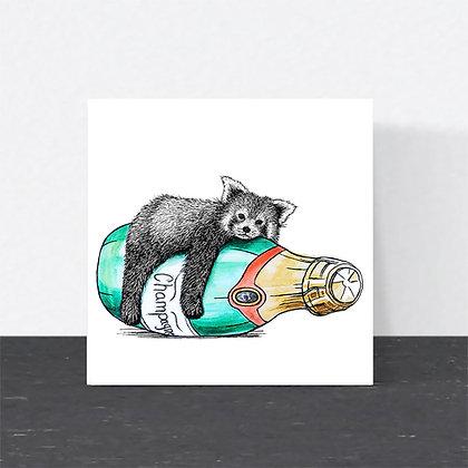 Cute red panda celebration card