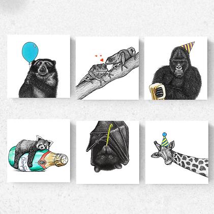 Set of six celebration cards