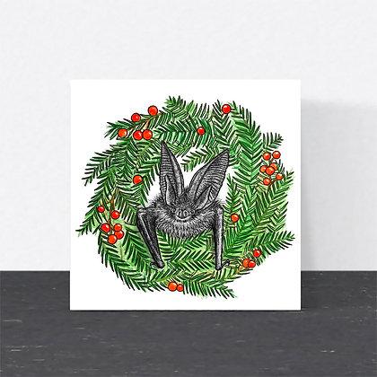 Brown long-eared bat Christmas card
