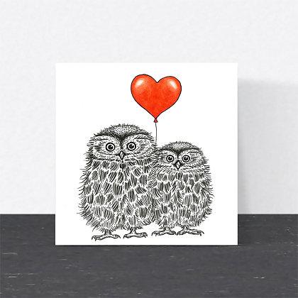 Little owls Valentine's card