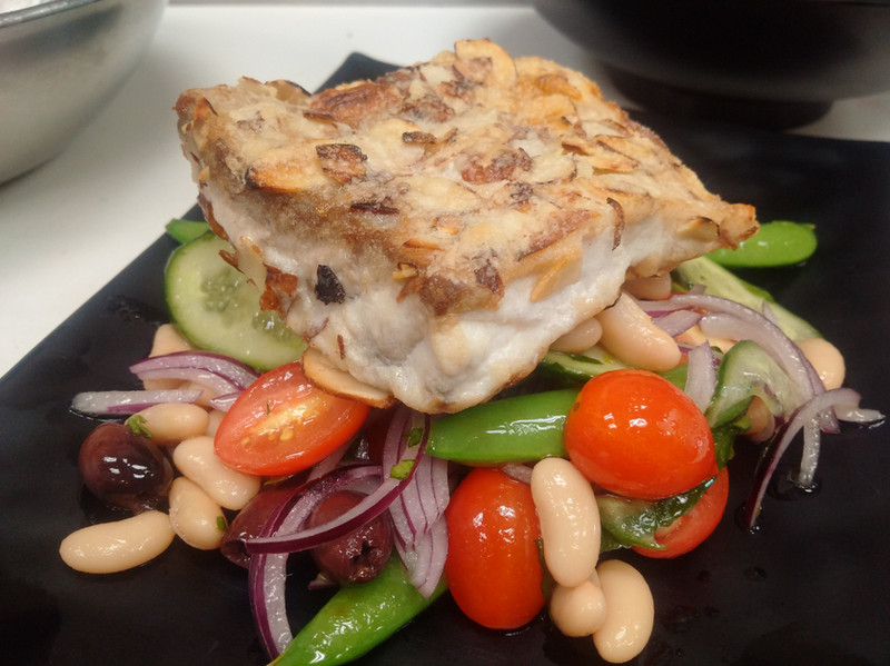 Almond-crusted Seabass