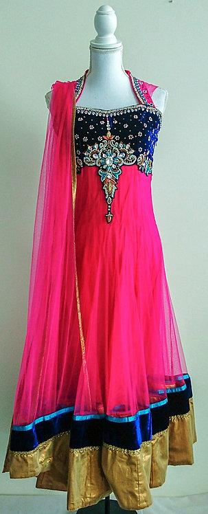Gorgeous pink and dark blue 3 piece anarkali suit