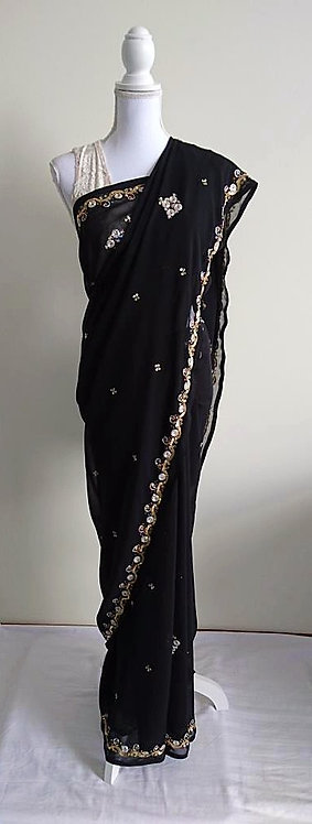 Beautiful black sari with gold and multicoloured sequin embellishments