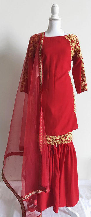 Designer red and beige three piece sharara suit