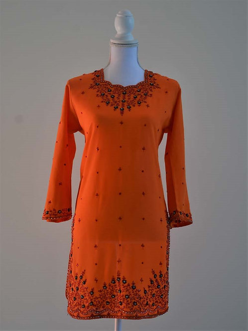 Orange three piece salwar with sequin and black and red embroidery