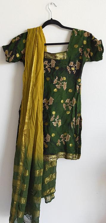 Stunning dark green with gold leafy pattern three piece suit