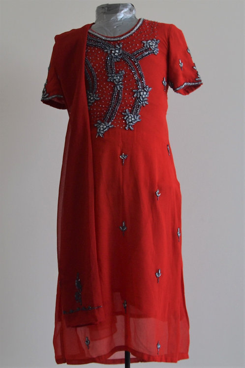 Red churidar suit with beaded embroidery