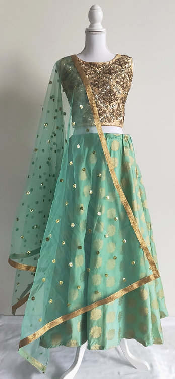 Gorgeous gold and pastel green lengha