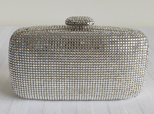 Shimmering silver clutch with american swarovski diamontes
