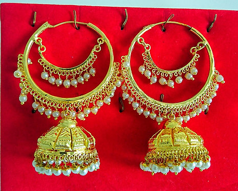 Beautiful gold hoop earrings with jhumki design