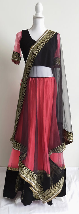 Stylish black and pink velvet three piece lengha